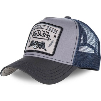 Von Dutch SQUARE3B Grey and Blue Trucker Hat