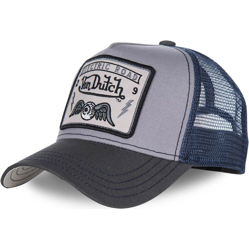 b67ee300f8e Von Dutch SQUARE3B Grey and Blue Trucker Hat  Shop Online at Caphunters