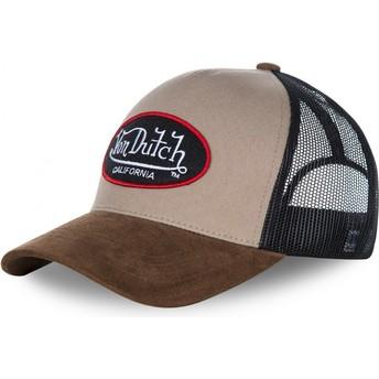 Von Dutch SUEDE Beige Trucker Hat