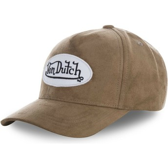 Von Dutch Curved Brim SUEDE4 Brown Adjustable Cap