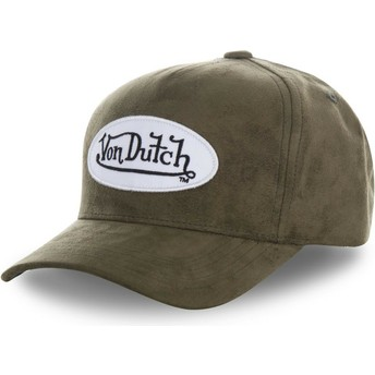 Von Dutch Curved Brim SUEDE6 Green Adjustable Cap