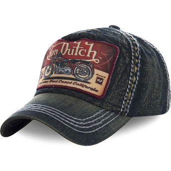 Von Dutch Curved Brim TERRY01 Navy Blue Denim Adjustable Cap