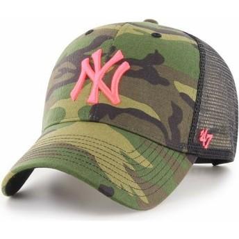 47 Brand Pink Logo New York Yankees MLB MVP Branson Camouflage Trucker Hat