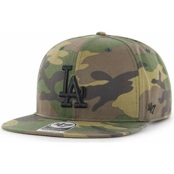 47 Brand Flat Brim Black Logo Los Angeles Dodgers MLB Captain Grove Camouflage Snapback Cap