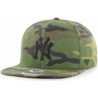 47 Brand Flat Brim Black Logo New York Yankees MLB Captain Grove Camouflage Snapback Cap
