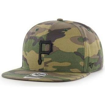 47 Brand Flat Brim Black Logo Pittsburgh Pirates MLB Captain Grove Camouflage Snapback Cap