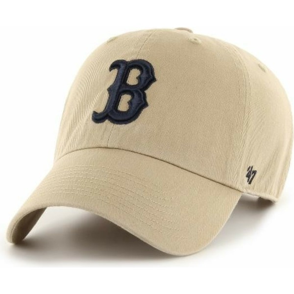 47-brand-curved-brim-black-logo-boston-red-sox-mlb-clean-up-beige-cap
