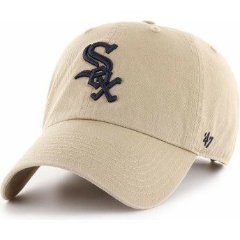 47 Brand Curved Brim Black Logo Chicago White Sox MLB Clean Up Beige Cap