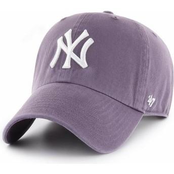 47 Brand Curved Brim New York Yankees MLB Clean Up Purple Cap