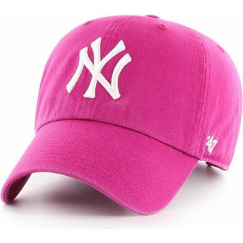 47 Brand Curved Brim New York Yankees MLB Clean Up Orchid Pink Cap