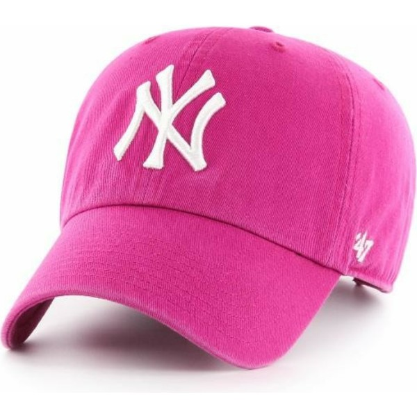 47-brand-curved-brim-new-york-yankees-mlb-clean-up-orchid-pink-cap