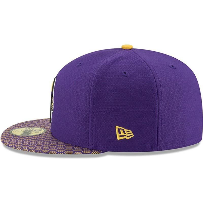 3205d95ac8265 New Era Flat Brim 59FIFTY Sideline Minnesota Vikings NFL Purple ...