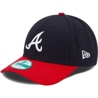Gorra curva azul marino y roja ajustable 9FORTY The League de Atlanta Braves MLB de New Era