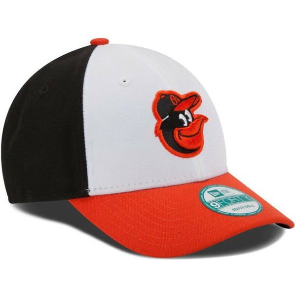 new-era-curved-brim-9forty-the-league-baltimore-orioles-mlb-white-black-and-orange-adjustable-cap