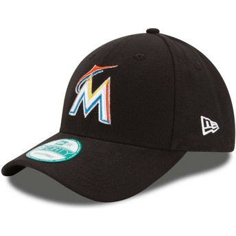 New Era Curved Brim 9FORTY The League Miami Marlins MLB Black Adjustable Cap
