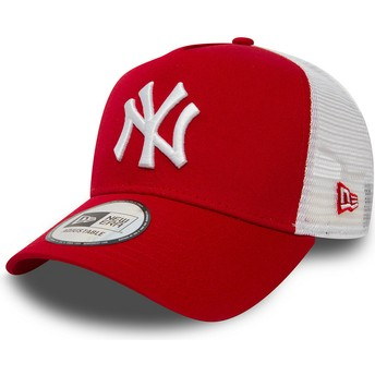 New Era Clean A Frame 2 New York Yankees MLB Red Trucker Hat