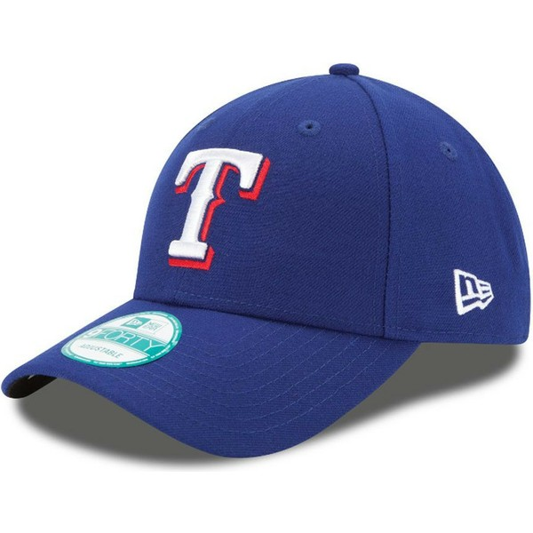 new-era-curved-brim-9forty-the-league-texas-rangers-mlb-blue-adjustable-cap