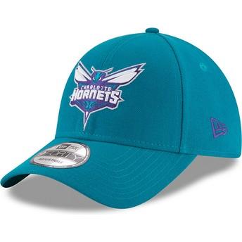 Gorra curva azul ajustable 9FORTY The League de Charlotte Hornets NBA de New Era