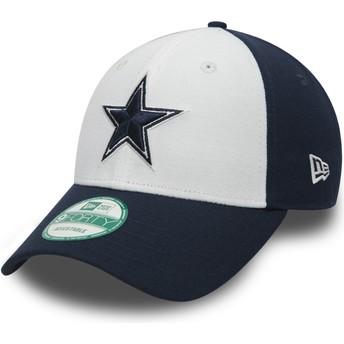 Gorra curva blanca y azul marino ajustable 9FORTY The League de Dallas Cowboys NFL de New Era