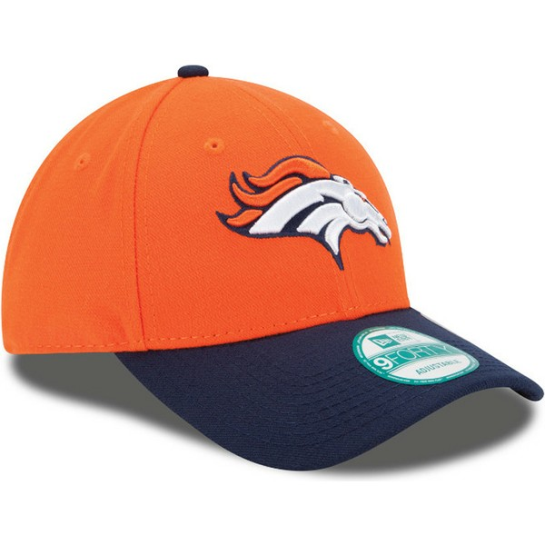 new-era-curved-brim-9forty-the-league-denver-broncos-nfl-orange-and-navy-blue-adjustable-cap