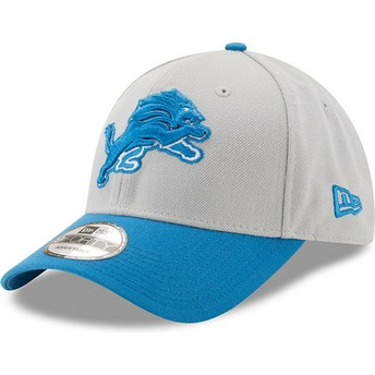 New Era Curved Brim 9FORTY The League Detroit Lions NFL Grey and Blue Adjustable Cap