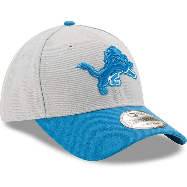 new-era-curved-brim-9forty-the-league-detroit-lions-nfl-grey-and-blue-adjustable-cap