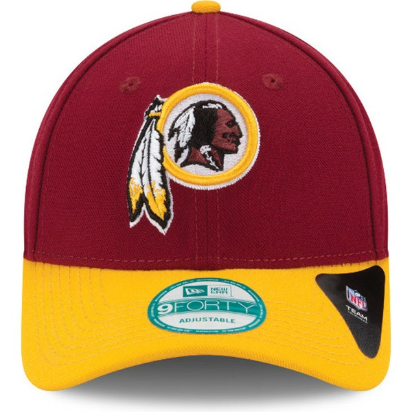 new-era-curved-brim-9forty-the-league-washington-redskins-nfl-red-and-yellow-adjustable-cap