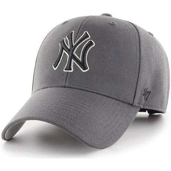 47-brand-curved-brim-black-logo-new-york-yankees-mlb-mvp-grey-adjustable-cap
