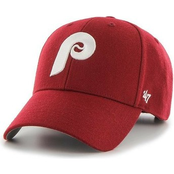 47 Brand Curved Brim Classic Logo Philadelphia Phillies MLB MVP Cooperstown Red Adjustable Cap