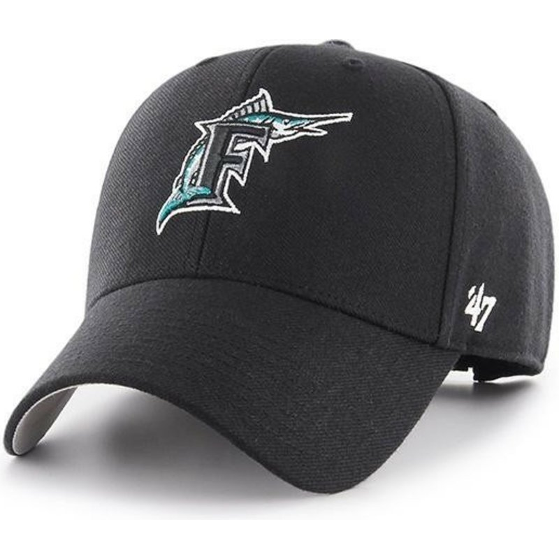 47-brand-curved-brim-classic-logo-miami-marlins-mlb-mvp-cooperstown-black-adjustable-cap