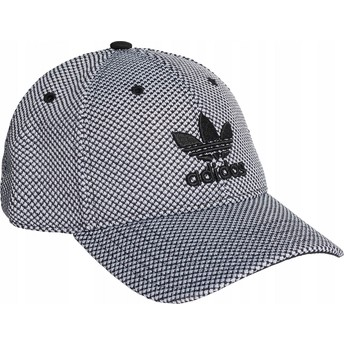Adidas Black Logo Curved Brim Trefoil Primeknit White and Black Adjustable Cap