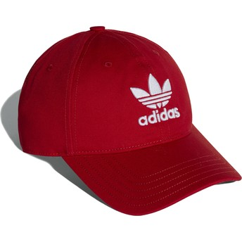 Adidas Curved Brim Trefoil Classic Red Adjustable Cap