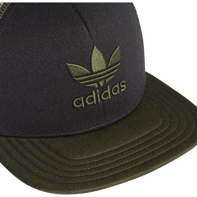 9b031ccbd97 Adidas Green Logo Trefoil Heritage Black and Green Trucker Hat