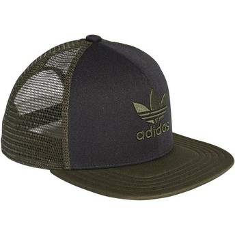 Adidas Green Logo Trefoil Heritage Black and Green Trucker Hat