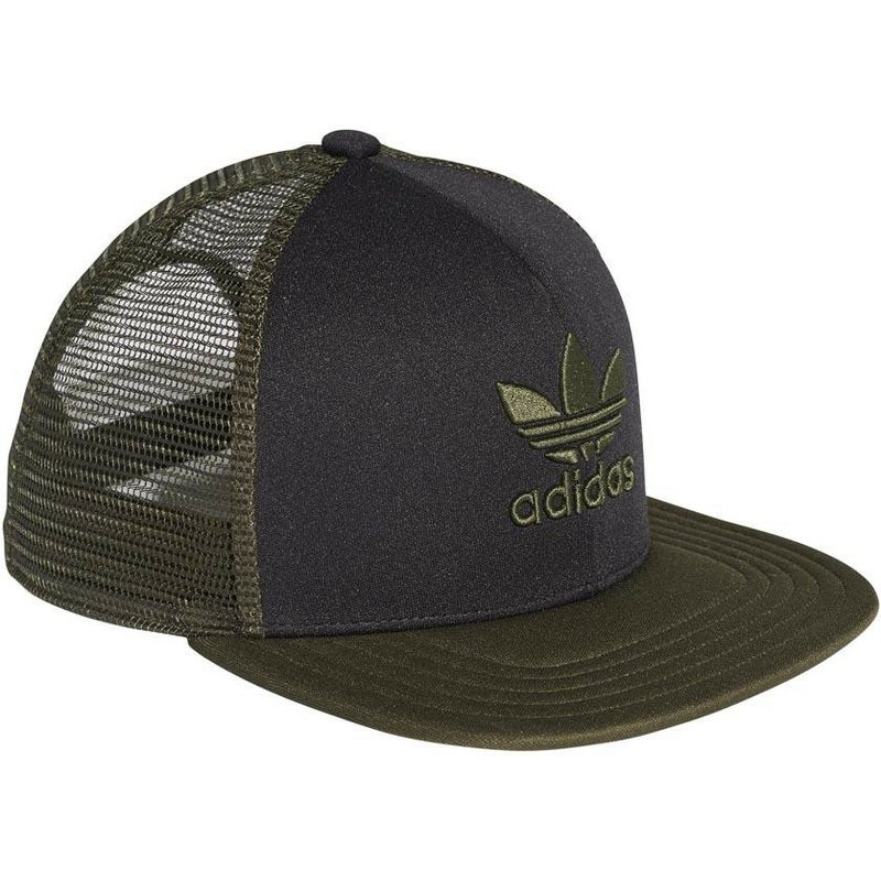 Adidas Green Logo Trefoil Heritage Black and Green Trucker Hat  Shop ... 5efea8936ae
