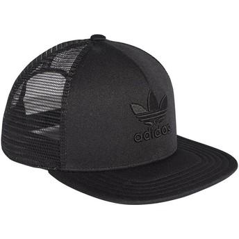 Adidas Black Logo Trefoil Heritage Black Trucker Hat