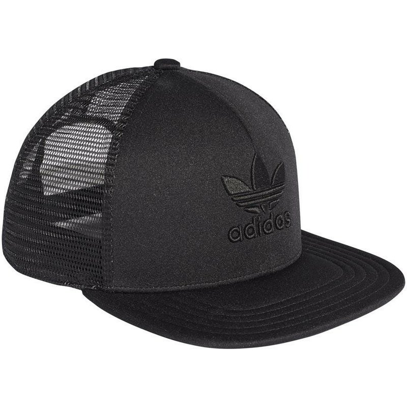 5ad04ecd Adidas Black Logo Trefoil Heritage Black Trucker Hat: Shop Online at ...