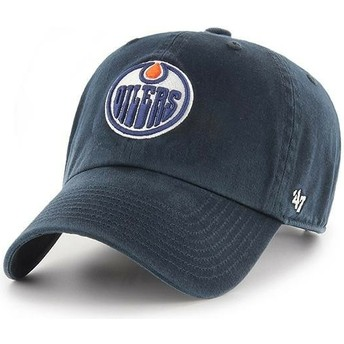 47 Brand Curved Brim Edmonton Oilers NHL Clean Up Navy Blue Cap