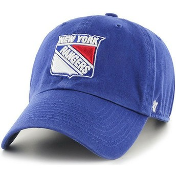 47 Brand Curved Brim New York Rangers NHL Clean Up Blue Cap