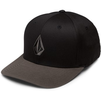 Volcom Curved Brim Black Grey Full Stone Xfit Black Fitted Cap with Grey Visor