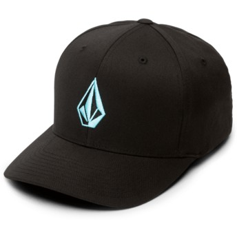 Volcom Curved Brim Blue Logo Blue Bird Full Stone Xfit Black Fitted Cap