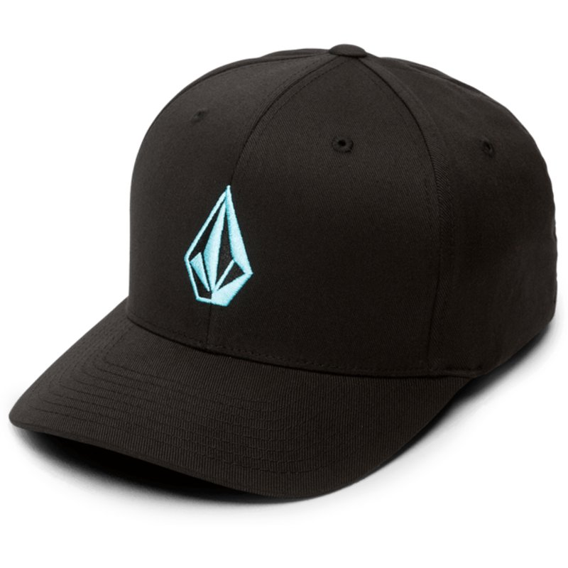 volcom-curved-brim-blue-logo-blue-bird-full-stone-xfit-black-fitted-cap