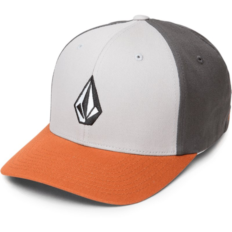 volcom-curved-brim-copper-full-stone-xfit-grey-fitted-cap-with-orange-visor