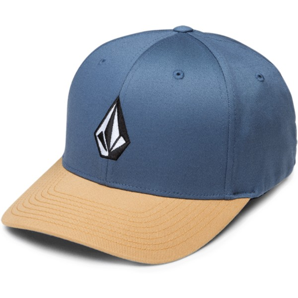 volcom-curved-brim-caramel-full-stone-xfit-blue-fitted-cap-with-brown-visor