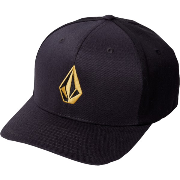volcom-curved-brim-golden-logo-dirt-gold-full-stone-xfit-black-fitted-cap