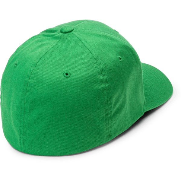 volcom-curved-brim-dark-kelly-full-stone-xfit-green-fitted-cap