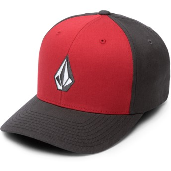 Volcom Curved Brim Engine Red Full Stone Xfit Red and Black Fitted Cap
