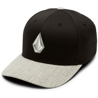 Volcom Curved Brim Grey Logo Storm Full Stone Xfit Black Fitted Cap with Grey Visor