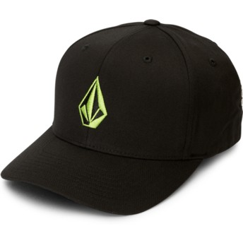 Volcom Curved Brim Green Logo Thyme Green Full Stone Xfit Black Fitted Cap