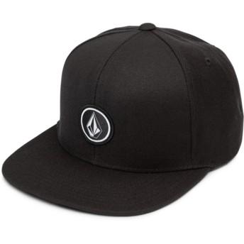 Volcom Flat Brim Black Quarter Twill Black Snapback Cap